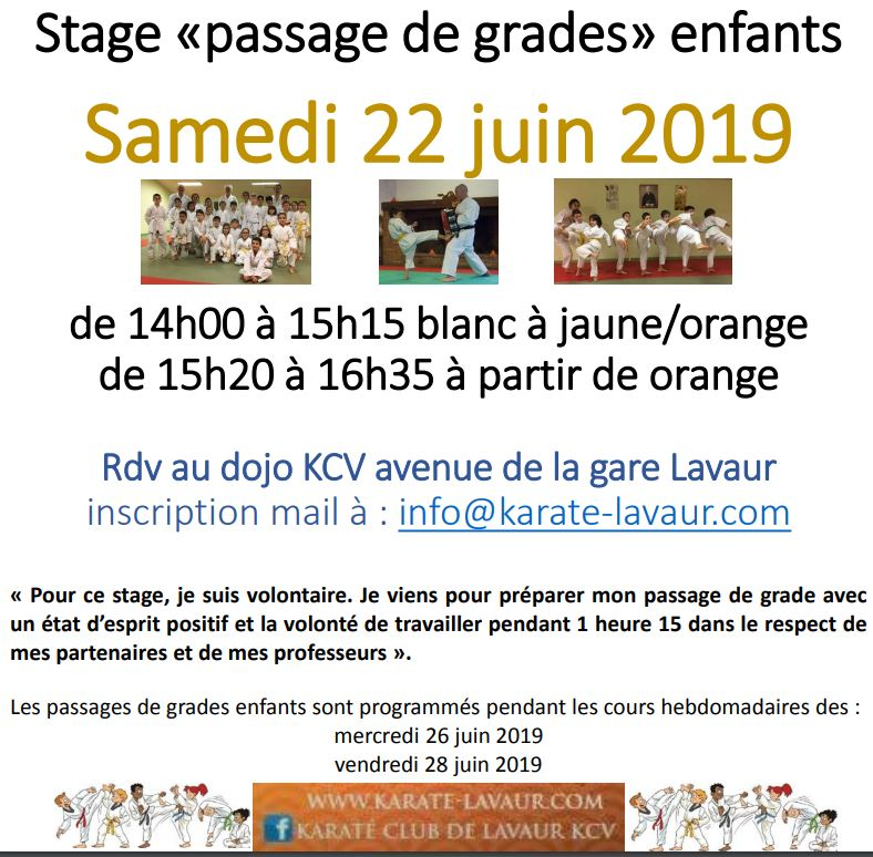 stage passage de grades enfants